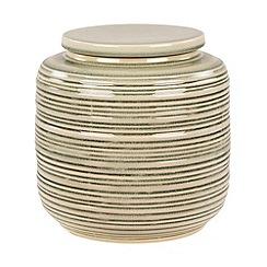 Broste - Green striped ceramic jar