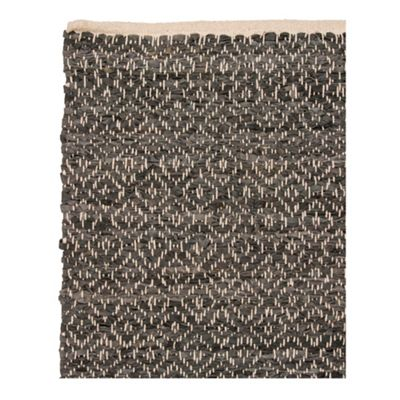 Broste Black leather woven rug - . -