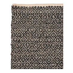 Broste - Black leather woven rug