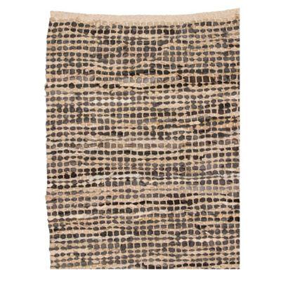 Broste Cream leather woven rug - . -