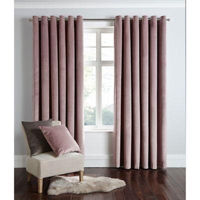 Home Collection Powder Pink Velvet Eyelet Curtains Debenhams