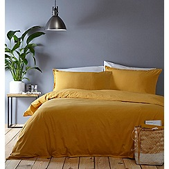 Home Collection Basics - Yellow washed cotton plain dye bedding set