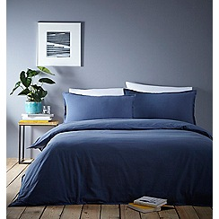 Home Collection Basics - Blue washed cotton plain dye bedding set