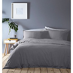 Home Collection Basics - Grey washed cotton plain dye bedding set