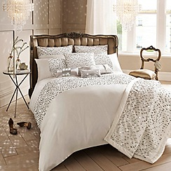 Kylie Minogue at home - Oyster 200 thread count 'Eva' sequin duvet cover