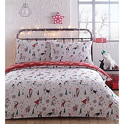 Ben de Lisi Home - White 'Christmas Dogs' 144 thread count bedding set