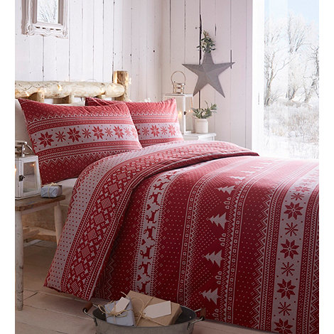 Home Collection - Red brushed +Knitted Fairisle+ bedding set
