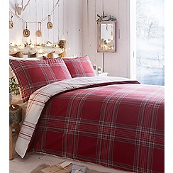 Home Collection - Red brushed 'Check' bedding set