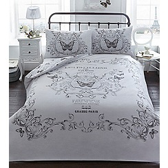 Debenhams - Grey printed 'Parisian' 144 thread count bedding set