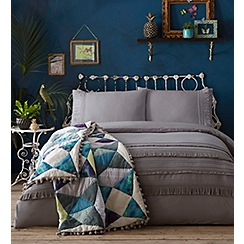 Butterfly Home by Matthew Williamson - Grey 'Arabella Tassel' 180 thread count duvet cover and pillow case