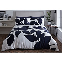 J by Jasper Conran - Navy printed 'Madison' duvet cover