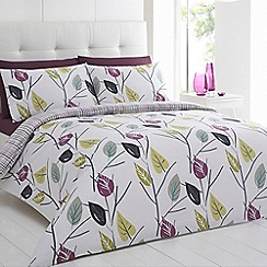 Home Collection - Blue printed 'Leaves' bedding set