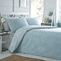 Home Collection - Pale blue printed 'Sketchy Leaf' bedding set