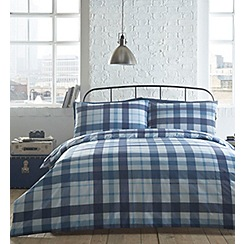 Home Collection - Blue printed check 'Michael' bedding set
