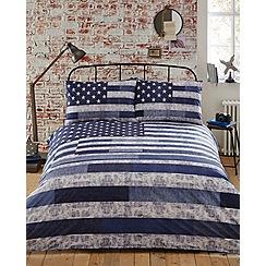 Home Collection - Blue printed 'Vintage Flag' bedding set