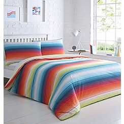 Home Collection Basics - Multicoloured printed 'Textured Bright Stripe' bedding set