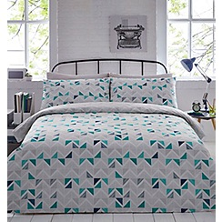 Home Collection - Grey printed geometric 'Stephen' bedding set