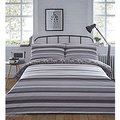 Home Collection - Light brown printed 'Ethan' striped bedding set