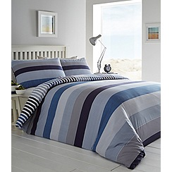 Home Collection - Blue printed 'Saunders' striped bedding set