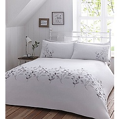 Home Collection - White 'Leaf Embroidery' bedding set