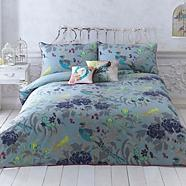 Turquoise 'Magnolia Peacock' bedding set