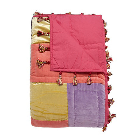 Butterfly Home by Matthew Williamson - Designer pink velvet patchwork throw