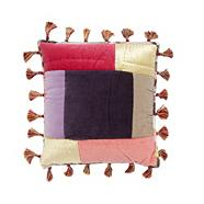 Designer grey velvet patchwork cushion