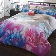 Designer purple lotus bedding set