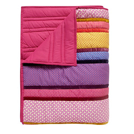 Butterfly Home by Matthew Williamson - Designer purple geometric patchwork bed throw