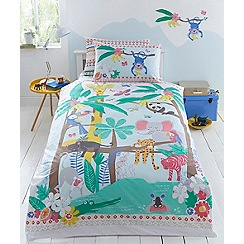 bluezoo - Multicoloured printed 'Jungle Fiesta' bedding set
