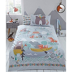 bluezoo - Multicoloured printed 'Let s Go Camping' bedding set