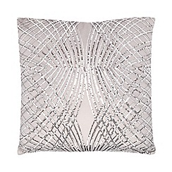 Kylie Minogue at home - Silver sequinned cushion