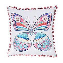 bluezoo - Multi-coloured butterfly print cushion