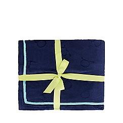 Baker by Ted Baker - Navy debossed logo fleece throw