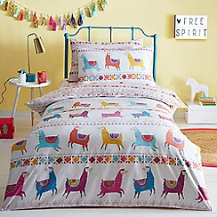 bluezoo - Multicoloured 'Llamas' bedding set
