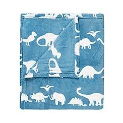 bluezoo - Turquoise dinosaur print fleece blanket