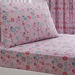 bluezoo - Kids' pink 'Little Owl And Friends' fitted sheet and pillow case set