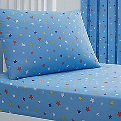 bluezoo - Kids' blue star print fitted sheet and pillow case set