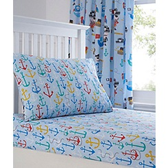 bluezoo - Kids' blue pirates print fitted sheet and pillow case set