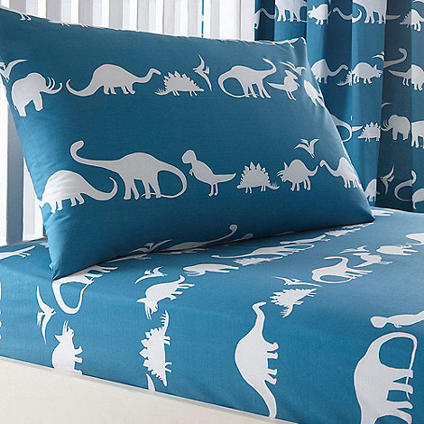 blue dinosaur print fitted sheet and pillow case set