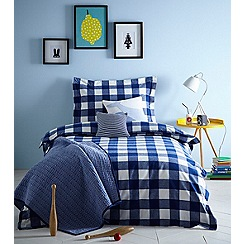 J by Jasper Conran Kids - Blue 'Check' brushed bedding set