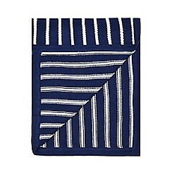 J by Jasper Conran - Boys' navy striped knitted throw
