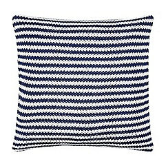 J by Jasper Conran - Navy striped knitted cushion