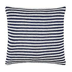 J by Jasper Conran - Navy striped knitted cushion