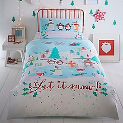 bluezoo - Multicoloured 'Let It Snow' single size bedding set