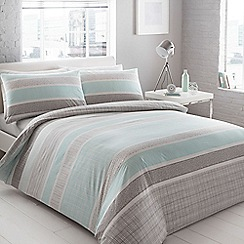 Debenhams - Aqua 'Helsinki' geometric striped bedding set