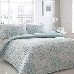 Debenhams - Aqua 'Oslo' geometric printed bedding set