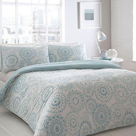 home collection basics aqua geometric print bedding set debenhams