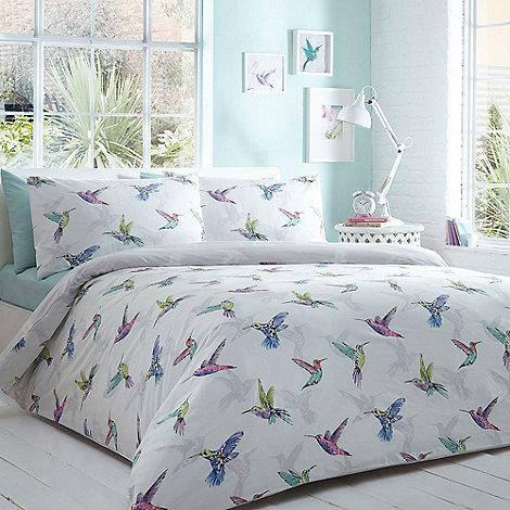 Home Collection Basics White 39 Hummingbird 39 Bedding Set Debenhams
