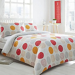 Home Collection Basics - Orange 'Circles and Droplets' spotted bedding set